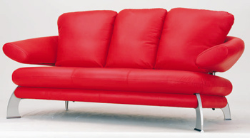 European-style modern red  three seats sofa 3D Model