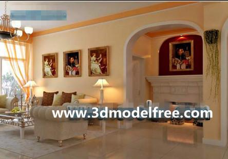 European-style orange living room 3D Model