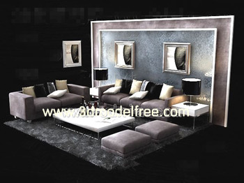 European Style purple sofa combination 3D Model