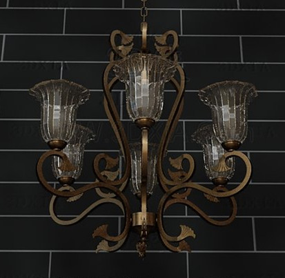 European style retro metal frame Chandelier 3D Model