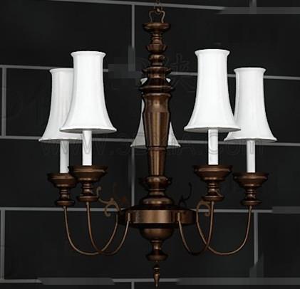 European style retro white chandelier 3D Model