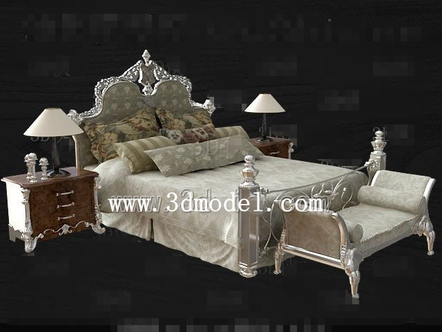 European style silver gray double bed 3D Model