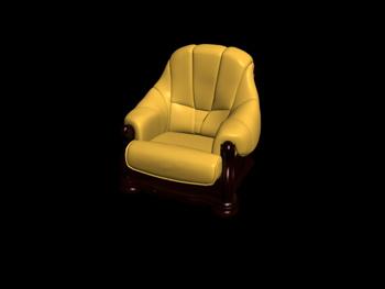 European-style single leather sofa 3D Model