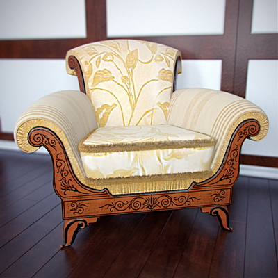 European-style single sofa 3D model (with map)