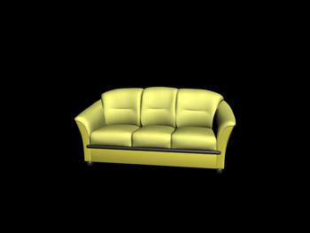 European-style three seats dark yellow sofa 3D Model