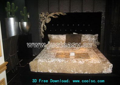 European-style white bed 3D model (including materials)