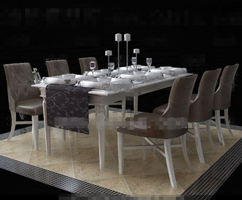 European-style white dinette combination 3D Model