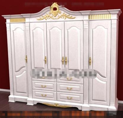 European style white four-door wardrobe 3D Model