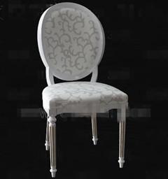 European-style white wooden chair 3D Model