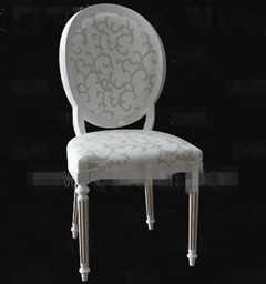 European-style white wooden chair 3D Model