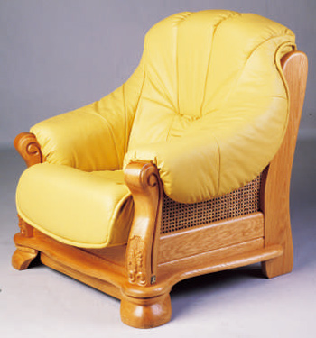 European-style wood base leather sofa 3D Model