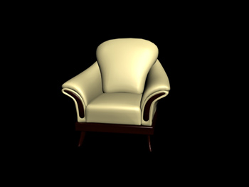 European-style wooden base single sofa 3D Model