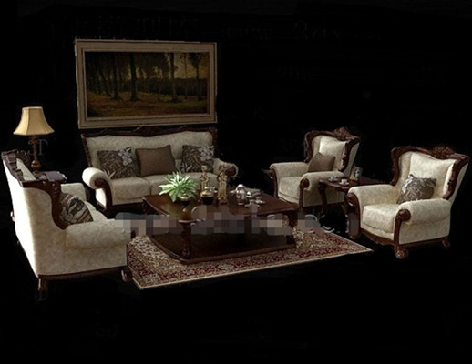 European-style wooden fabric sofa combination 3D Model