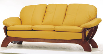 European-style yellow leather sofa 3D Model