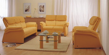 European-style yellow sofa and coffee table combination 3D Model