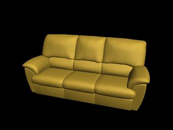 European-style yellow three seats leather sofa 3D Model