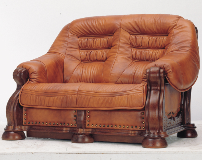 European wood bottom carved cowhide double sofa 3D models (including material)