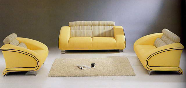 European yellow sofa combination 3D Model