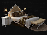 Exquisite and luxury white double bed 3D Model
