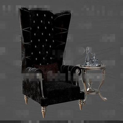 Exquisite black fabric sofa tea table combination 3D Model