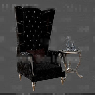 Exquisite black fabric sofa tea table combination 3D Model