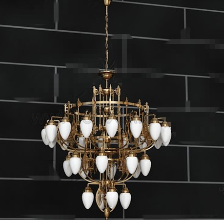 Exquisite gold metal frame Chandelier 3D Model