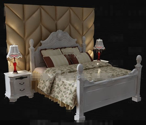 Exquisite wooden white double bed 3D Model