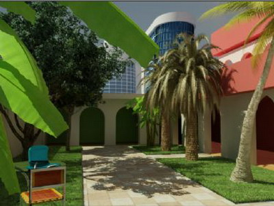 Exterior Design: Tropical House Garden 3DsMax Model