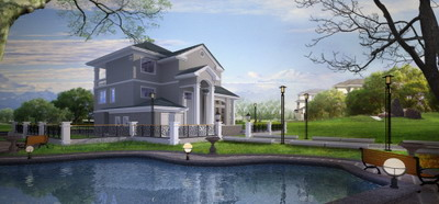 Exterior Model:Detached Villa With Lakeview 3D Model