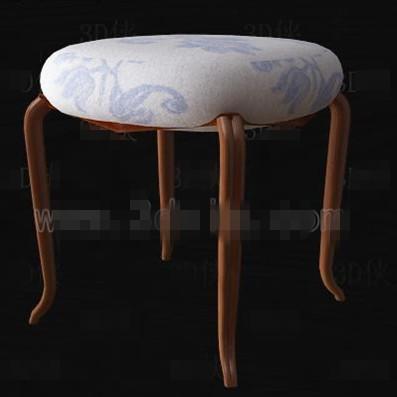 Fabric cushion three-legged wooden chair 3D Model
