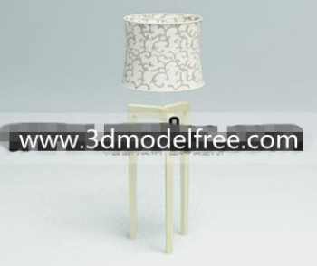 Fabric flower compiled wooden bottom lamp 3D Model