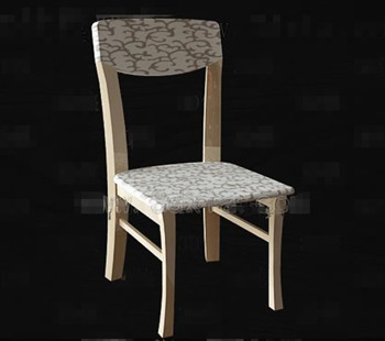 Fabric patterns cushion wooden chair 3D Model