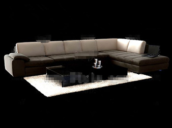 Fabric sofa and coffee table combination 3D Model