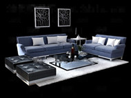 Fashion and simple gray sofa combination 3D Model