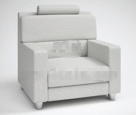 Fashion light gray fabric sofa 3D Model