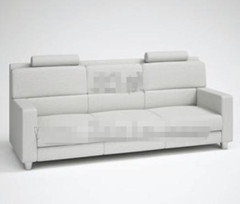 Fashion light gray three seats fabric sofa 3D Model