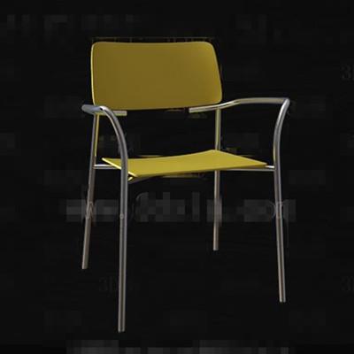 Fashion pale yellow metal legs chair 3D Model