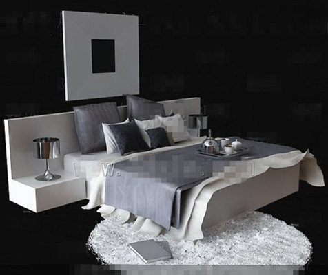 Fashion personality gray and white double bed 3D Model