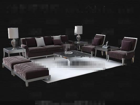Fashion purple sofa combination 3D Model