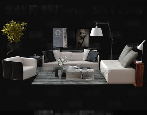 Fashion simple white sofa combination 3D Model