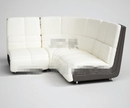 Fashion white angular fabric sofa 3D Model