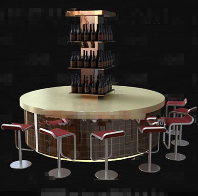 Fashionable round bench wine cabinet 3D Model