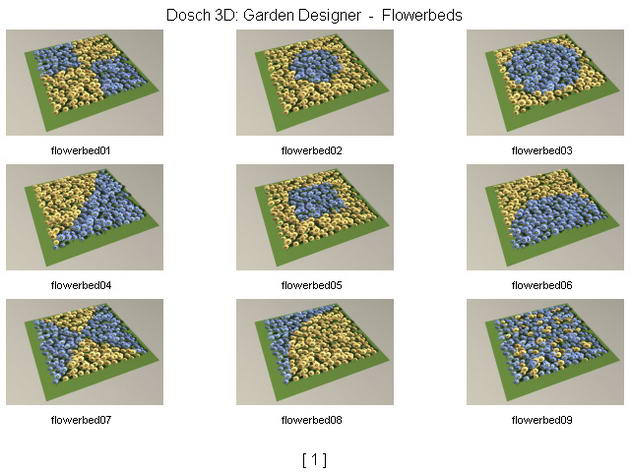 Flowers / Mosaic Tiles modelings / Gardens 3D Model