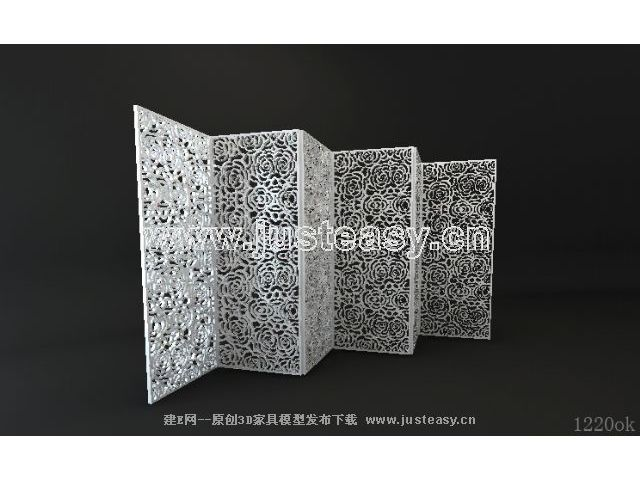 Flowers white six furnishings screen 3D model (including materials)