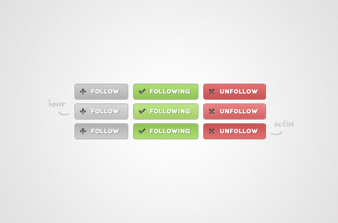 Follow Buttons PSD