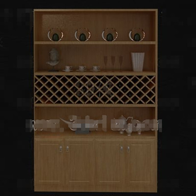 Four layers wooden wine cabinet 3D Model