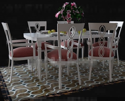 Fresh pink and white dinette combination 3D Model