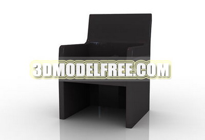 Furniture 3D Model: Black Wooden Dining Chair 3Ds Max Model