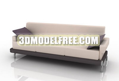Furniture 3D Model: Creamy Fabric Couch 3Ds Max Model