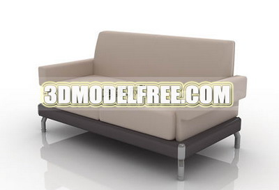 Furniture 3D Model: Creamy Fabric Couch Small One 3Ds Max Model